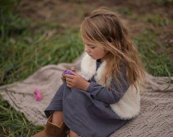 Girls Vest Ecru Cotton Lining