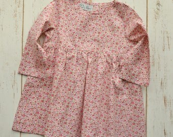 Girls Dress Floral Pink Print Long Sleeve