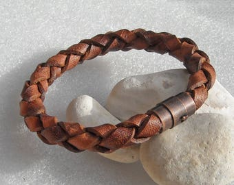 """Brown leather bracelet, 10mm, with antique copper colored magnetic clasp. You choose the braclet size from 7.5 to 9 inches around. #S-45. 8"""""""