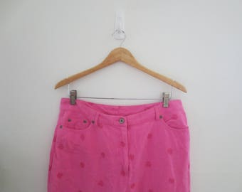 cotton pink embroidered pants