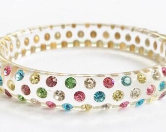 Multi- Colored (Pastels) Rhinestone in Lucite Bangle Bracelet