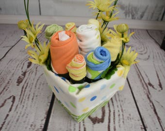 Baby bouquet baby clothing gender neutral baby shower decor new parent gift baby gift basket unique baby shower gift new baby gift