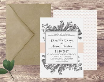 The San Francisco Wedding Invitation and RSVP Set, Floral Wedding Invitations, Garden Wedding Invitations, Spring Wedding Invitations