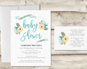 Baby Shower Invitation and Book Insert Card, Baby Boy Shower Invitation, Baby Boy Sprinkle Invitation, Couples Baby Shower Invitation Boy