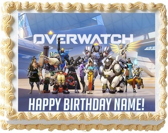 Overwatch Edible Cake Topper Image Frosting Sheet Quarter Sheet, Overwatch Party, Overwatch Supplies, Edible Photo, Edible Topper