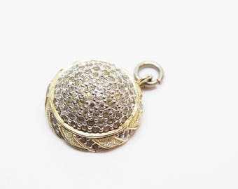 Nettie Rosenstein Rhinestone and Gilt Metal Round Pendant