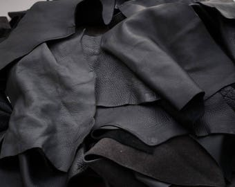 Black cowhide upholstery leather scrap pieces 2-3 hands 0.5 KG