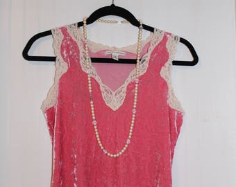 Vintage Pink Crushed Velvet/Lace Tank