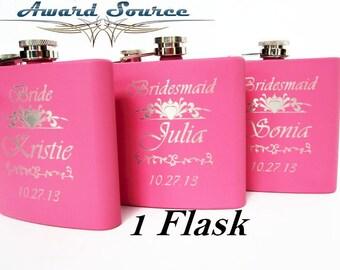 Set of 1, bridesmaids flasks, floral pattern, bridesmaid gift, flasks for bridesmaids, flowers flasks, flasks for women, cute flasks,