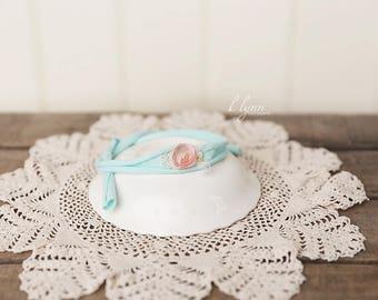 Baby headband, Green headband, Photography prop, Newborn tie back, Newborn prop girl, Baby girl halo, Toddler headband, Baby girl clothes