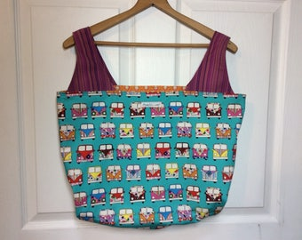 Hippie bus- large Reversible Grocery bag