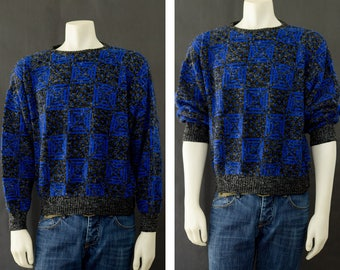 Vintage Men's Sweater, 80s Geometric Pattern Pull Over Sweater, 90s Grunge Sweater, Black Blue Sweater, Men's Size Large