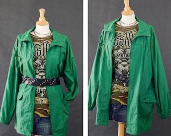 Vintage Jacket,  80s Windbreaker, Green Oversized Windbreaker, Long Windbreaker Jacket, Lightweight Jacket, 80s Plus Size Windbreaker 1x