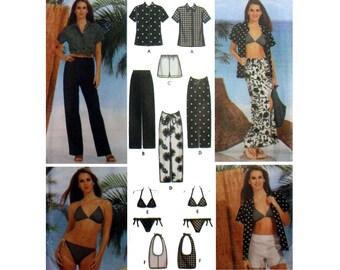 Women's Beachwear Sewing Pattern, Shirt, Pants, Shorts, Sarong Skirt, Bathing Suit and Bag Misses Size 12, 14, 16, 18 Uncut Simplicity 7231