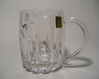 German lead crystal beer mug 24%, beer mug,lead crystal tankard with handle,german lead crystal ware