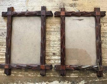 Pair of Black Forest Frames with glass