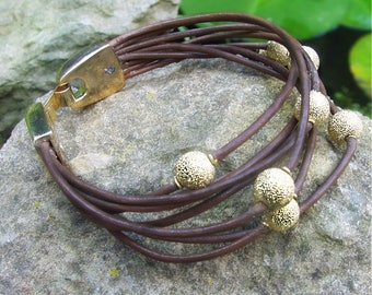 Jewelry Tutorial - leather multi strand wrapped bracelet with beads