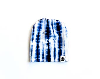 Blue Tie-Dye Slouch Beanie