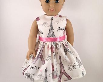 "18"" Doll Clothes American Made Girl Doll Dress Fits 18 inch Doll - Paris Sparkle Eiffel Tower Ooh La La"