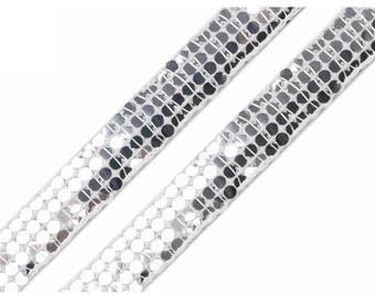 Silver 13 mm shiny glitter like sequins lace