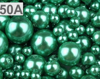A 50-100 g of 4-12 mm glass pearl beads different sizes