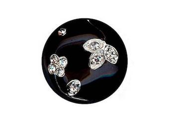 Button black enamel and rhinestone diamond 20 mm