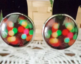 Multi Color Cabochon Clip on Earrings