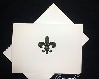 7 Fleur de Lis blank note cards. 7 cards and 7 matching envelopes. Saint fleur di lis. Greeting cards . New Orleans, Louisiana.