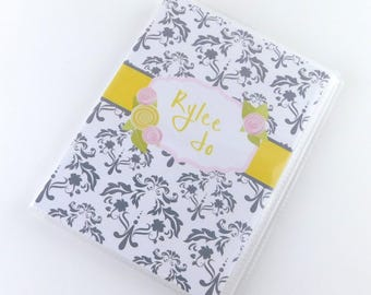 Baby Girl Photo Album Sweet Sixteen Quinceanera Wedding Bridal Shower Anniversary Engagement 4x6 or 5x7 Pictures Pink Gray Yellow Damask 731