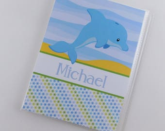 Boy Photo Album Baby Shower Gift 5x7 or 4x6 Pictures Blue Dolphin Grandmas Brag Book Under the Sea Birthday Party 848