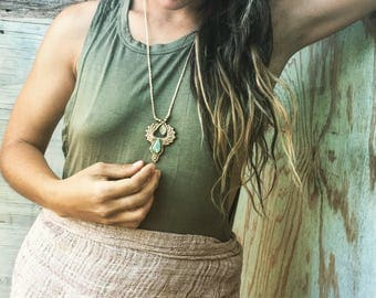 Macrame jade pendent *JADE* cream macrame necklace festival TRIBAL bohemian gipsy jewelry art of goddess handemade necklace
