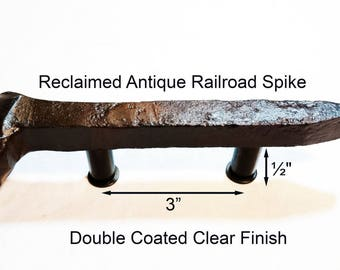 """Custom Set of (8) 3"""" Left and (6) 3"""" Right Sealed Railroad Spike Cupboard Handles"""