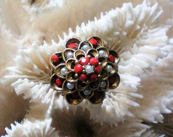 Domed Flower Ring with Red Rhinestones and Seed Pearls - 5452