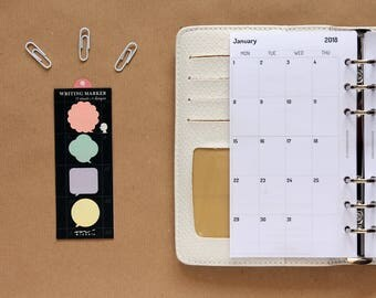 2018 Personal monthly inserts, Filofax Personal monthly calendar, month on two pages printed inserts