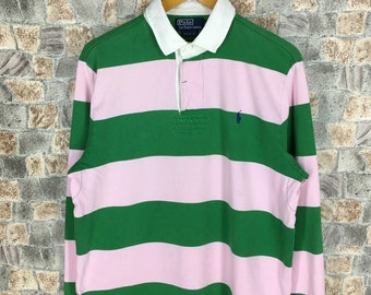 Vintage Polo RALPH LAUREN Polo Shirt Mens Large Ralph Lauren 90's Striped Green Multicolor Stripes Polo Rugby Shirt Size L