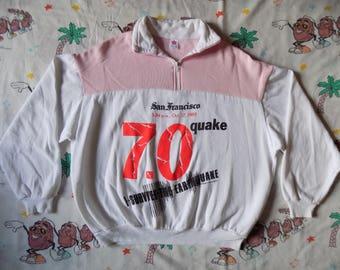 Vintage 80's I Survived The San Francisco Earthquake quarter zip Pullover Sweatshirt, size Large 1989 two tone neon Souvenir