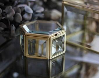 Hexagon small brass box, Height: 4.5 cm (1.77''), golden box, Ring bearer box, hexagon ring box, brass geometric ring box, brass box,
