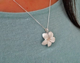 Sterling Silver Hawaiian Plumeria Necklace, Large Plumeria Pendant, Hawaiian Jewelry, Mother's Day Gift, Frangipani Necklace, Tropical
