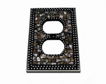 Mosaic Outlet Plate - Electrical Outlet Cover - Outlet Cover - Brown Outlet Cover - Light Cover - Silver Switch Plate
