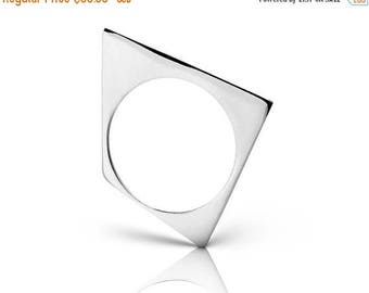 ON SALE Triangular Shaped Statement 925 Silver Minimalist Thin Ring - Handmade Product