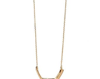 ON SALE Half Square 14K Gold Small Geometric Minimalist Statement Necklace - Step Collection