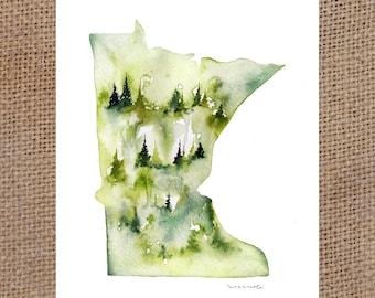 "Green MN - Watercolor Print 8x10"""