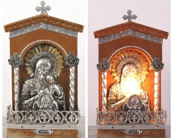 Virgin Mary, Jesus Christ, Religious Wall Lighting, Religious Night Light, Religious Icon, Religious Wall Hanging, Catholic Wall Lighting