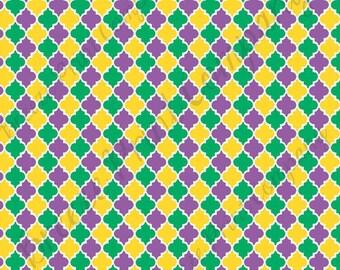 Purple green and yellow quatrefoil craft  vinyl sheet - HTV or Adhesive Vinyl -  quarterfoil pattern Mardi Gras  HTV1460
