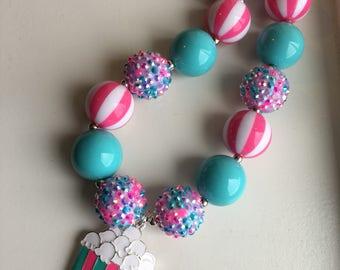 Popcorn charm chunky bead necklace.. chunky necklace.. pink and teal necklace.. popcorn necklace