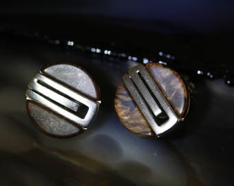 Vintage Givenchy Architectural Modern Clip on Faux Tortoise Earrings