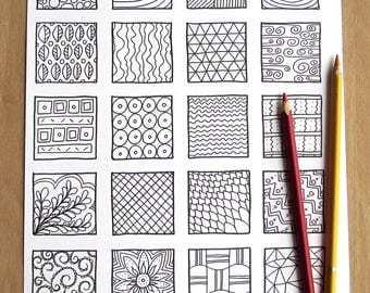 Doodle Squares - A4 Printable Colouring Page, PDF Download, Adult Colouring, Relaxing, Mindfulness, Doodle Inspiration