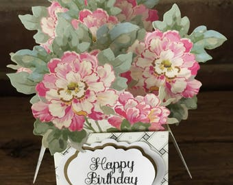 Birthday Card, Unique 3D Box Cards, Floral Pop-up card, Handmade Greeting Card, Flower Bouquets