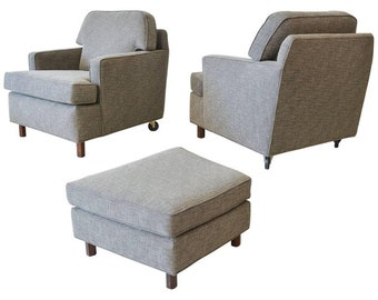 Pair of Edward Wormley for Dunbar Lounge Chairs with Ottoman, circa 1959
