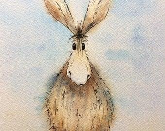 Daphne Donkey original watercolour painting, donkey painting